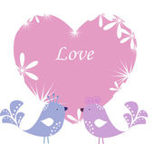 Two enamoured birdies on pink heart — Stock Vector
