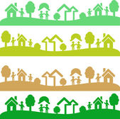 Four shots with ecology elements — Stock Vector