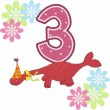 Number three with a dinosaur and flowers — Stock Vector