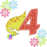 Number four with a dinosaur and flowers — Stock Vector