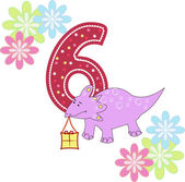 Number six with a dinosaur and flowers — Stock Vector