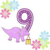 Number nine with a dinosaur and flowers — Stock Vector