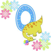 Number zero with a dinosaur and flowers — Stock Vector