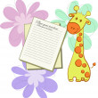 Bright card with giraffes and sheets of paper — Stock Vector