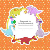 Multi-colored dinosaurs with balloons colors and gifts — Vector de stock