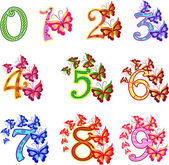 Beautiful multi-coloured numbers with butterflies — Stock Vector