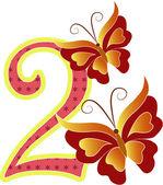 美しいマルチ色番号 2 つの蝶 — ストックベクタ