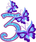 Beautiful multi-coloured number three with butterflies — Stockvector