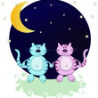 Two cats in the night from the moon and stars — Stock Vector