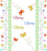 Spring card about a flowers and butterflies — Stock Vector