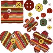 Sample of fabric with buttons — Vector de stock #8755873