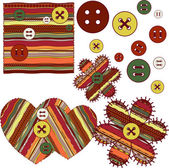 The sample of a fabric with buttons — Stock Vector