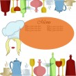 The menu the cook with multi-colored ware — Imagen vectorial