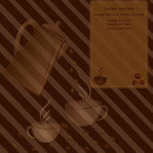 Cup of coffee c a coffee pot and with grains of coffee — Vector de stock