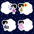 Icons with amusing girls — Stock Vector