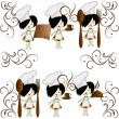 Six little girls chief of cooks — Vector de stock #8874730