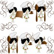 Six little girls the chief of cooks - Stock Vector