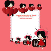 Illustration of children. Girls with hearts and girls with ear-phones — Vector de stock