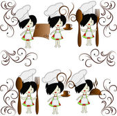 Six little girls the chief of cooks — Vector de stock