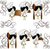 六つの小さな女の子の料理の最高経営責任者 — ストックベクタ