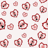 Seamless background from cats and hearts — Stock Vector