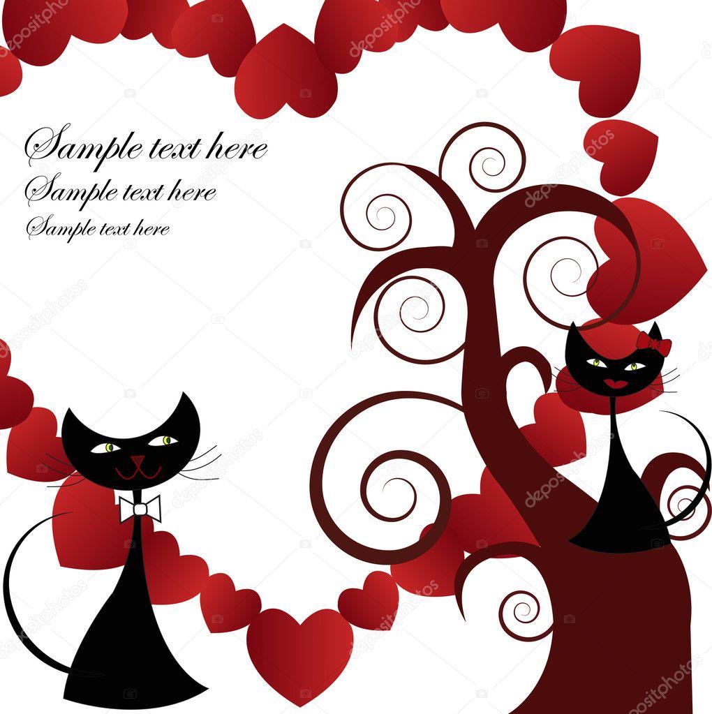 Dos gatos negros enamorados de un árbol con corazón sobre un fondo blanco\u2014 Vector de ykononova