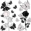 White and black rose with butterflies — ストックベクター #9029421