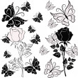 Stock Vector: White and black rose with butterflies