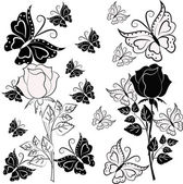 Blanco y negro color de rosa con mariposas — Vector de stock
