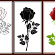 Three icons with roses — Image vectorielle