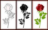 Tres iconos con rosas — Vector de stock