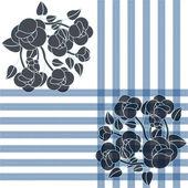 Mavi çiçekler bir örnek ve çizgiler — Stok Vektör