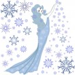 The girl winter with snowflakes — Imagen vectorial