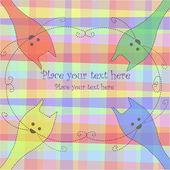Dört adet çok renkli kedi — Stok Vektör