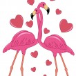 Stock Vector: Two enamoured flamingos