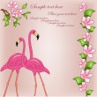 Two enamoured flamingos — Imagen vectorial
