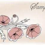 Poppy flowers card — Stock Vector