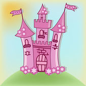 The beautiful pink castle — Stock Vector