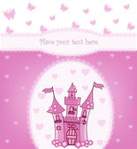 Princess card with Magic Castle — ストックベクタ