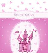 Principessa carta con castello magico — Vettoriale Stock