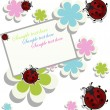 Stock Vector: Card sample with ladybugs and a flowers