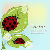 Two ladybugs on leaflets with camomiles — Vector de stock