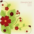 Beautiful card with ladybugs and red flowers — Stock Vector