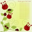 Beautiful card with ladybugs and red flowers — Vettoriali Stock
