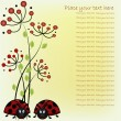 Beautiful card with ladybugs and red flowers — Векторная иллюстрация