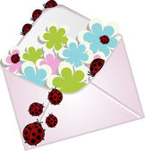 The letter with a flowers and ladybugs — Stock Vector