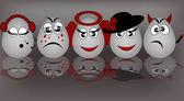 Set amusing eggs — Stock Vector