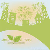 Outline of green houses from trees against the sky — Stock Vector