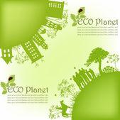 Pianeta verde ecologico — Vettoriale Stock