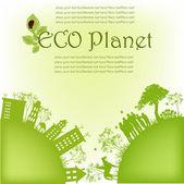 Green ecological planet — Stock Vector